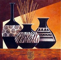 Tangletown Fine Art Patterns In Ebony I by Keith Mallett Fine Art Giclee Print on Gallery Wrap Canvas, 20 Pottery Painting Designs, Paint Designs, Bottle Painting, Bottle Art, African Art Paintings, Keramik Vase, Art Africain, Stretched Canvas Prints, Pattern Art