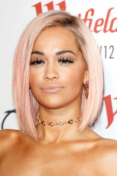Rita Ora As Ora proves, rose gold is an easy step away from platinum hair. Over time, the pinkish hue will fade and you'll eventually return to your bright white color anyway. / http://www.elle.com/beauty/hair/g29109/rose-gold-hair-color/