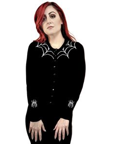 e59924de4d The Tangled Web We Weave Spiderweb Embroidered Cardigan Beserk Clothing