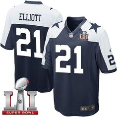 Nike Dallas Cowboys Youth #21 Ezekiel Elliott Elite Navy Blue Alternate Super Bowl LI Throwback NFL Jersey