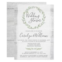 Engagement invitation templates free download places to visit rustic wood green wreath wedding shower invitation stopboris Gallery