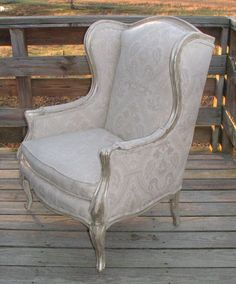 Refurbished French Wingback chair newly upholstered French matelassé  shabby home furniture