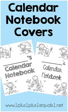 Calendar Notebook Covers ~ free printable