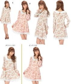 Japan Liz Lisa Cute Lolita Floral Print Dress With Long Sleeve With Lace