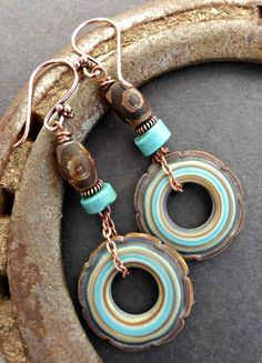 Turquoise, brown and cream ceramic rounds, with stone and copper metal earrings.