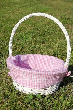 White Wicker Easter Basket with Pink Ginhgam Liner by FunkyFleurs, $29.00