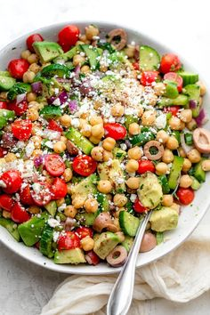 This fresh and delicious vegan Chickpea Salad is quick and easy to prepare. Loaded with simple healthy ingredients and dressed in a simple lemon dressing. Lettuce Salad Recipes, Chickpea Salad Recipes, Beef Recipes, Healthy Recipes, Delicious Recipes, Clean Eating, Healthy Eating, Healthy Meats, Salad Dishes
