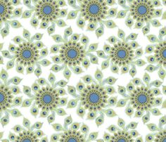 Peacock Feather Circle fabric by nicole_tamarin on Spoonflower - custom fabric