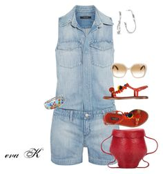 """""""Wear It in a Playsuit"""" by eva-kouliaridou ❤ liked on Polyvore featuring J Brand, Dolce&Gabbana, Rosie Assoulin, Belle Etoile, Marco Bicego and Salvatore Ferragamo"""