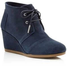 Toms Corduroy Suede Desert Wedge Booties ($89) ❤ liked on Polyvore featuring shoes, boots, ankle booties, navy, navy blue boots, suede booties, navy blue suede booties, suede wedge ankle booties and suede ankle booties