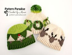 Free crochet pattern for graphed Christmas hats by pattern-paradise.com #crochet #patternparadisecrochet #christmas #hat #hats