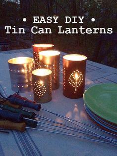 Easy DIY Tin Can Lanterns tutorial - A beautiful rustic craft idea for summer decor or a backyard party.