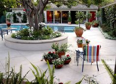 Flowers Pots and Planters Around Pool