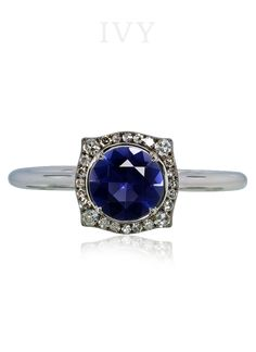 Square ring with iolite and diamonds – IVY New York