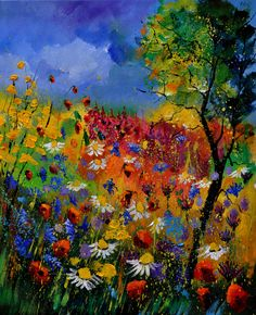 Pol Ledent - Summer. His floral landscapes remind me of the beauty of having flowers, trees, and shrubs in bloom in my own yard,  and inspire me to go out and work the garden!