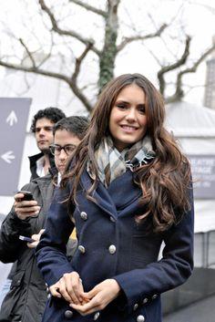 Navy Pea coat with patterned scarf. Nina Dobrev as Elena Gilbert.