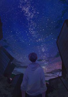 Beautiful art anime boy ideas for 2019 Aesthetic Art, Aesthetic Anime, Anime Galaxy, Sky Anime, Scenery Wallpaper, Cover Wallpaper, Wow Art, Anime Scenery, Digimon