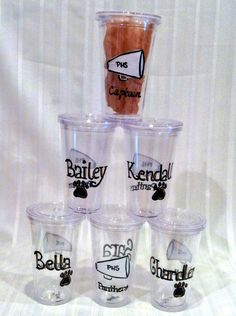 team tumblers feature personalized name or jersey number, sport icon and team name. double-walled tumblers come with lid and straw.  group pricing & fund-raising opportunities available. #schoolspirit #phscheer #cheerleading