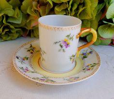 Antique Limoges Porcelain Hand Painted ~ Signed Demitasse Cup & Saucer ~ Gold #DeliniersLimoges