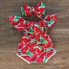 [originSweet Watermelon Printed Ruffle-sleeve Bodysuits, Headband 2 Pcs Set - baby girl room and clothesal_title] - Baby Outfits So Cute Baby, Cute Baby Clothes, Baby Love, Cute Babies, Baby Kids, Toddler Boys, Cute Baby Girl Outfits, Infant Girl Clothes, New Born Clothes