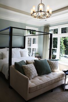 Master bedroom Colors- white and blue calm walls, dark wood furniture