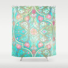 Floral Moroccan in Spring Pastels - Aqua, Pink, Mint & Peach Shower Curtain by Micklyn | Society6