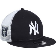 Men s New York Yankees New Era Navy League Patch 9FIFTY Trucker Hat 7670a93c5fee3