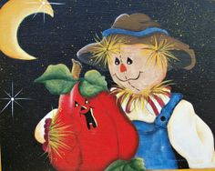 Classic Scarecrow Painting. Pumpkin. Moon. by holidayhijinks