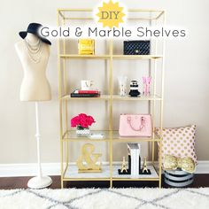 DIY:  Super easy home Do It Yourself Project - gold and marble shelves - fun and inexpensive!  - StylishPetite.com