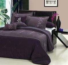 Shop for Poppy Flower Plum Comforter Set. Get free delivery On EVERYTHING* Overstock - Your Online Fashion Bedding Store! Purple And Grey Bedding, Plum Bedding, Purple Comforter, Dark Bedding, Designer Comforter Sets, Elegant Comforter Sets, Bedding Sets, Purple Bedroom Design, Purple Bedrooms