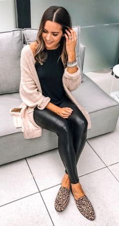 # Casual Outfits dresses leather leggings Faux Leather Leggings Outfit With Cardigan Sweater Leggings Outfit Winter, Legging Outfits, Leather Leggings Outfit, Spanx Faux Leather Leggings, Black Leather Pants, Cardigan Outfits, Outfits With Leather Pants, Shiny Leggings, Sweater Cardigan