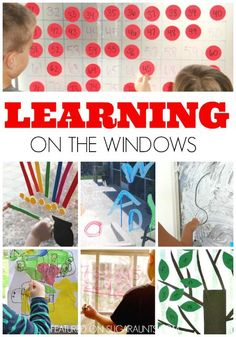 Learning math, literacy, spelling words, handwriting, colors, shapes on a vertical surface with windows and glass doors.