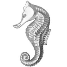 Seahorse Decorative Furniture Knobs Vintage Metal Whitewashed Pulls