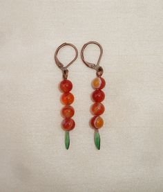 Copper Leaf Dangle Earrings with Orange Dragon Vein Agate Gemstones - European l