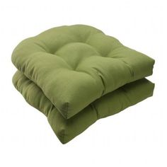 Pillow Perfect Outdoor/ Indoor Forsyth Green Wicker Seat Cushion (Set of 2)
