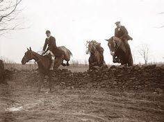 This picture was taken in 1921 and shows men on a Fox Hunt.