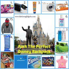 Pack the Perfect Walt Disney World Backpack How Does Your Garden Grow? www.thefarmgirlgabs.com #disneysmmoms #disneyside #waltdisneyworld #vacation