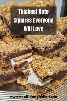 Date Squares are my favourite square recipe of all time. I've made date  squares so many times I've finally perfected them the way I like them,  thick centre and oat cookie base and topping.