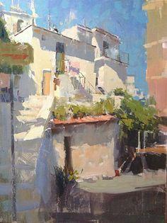 """Sunlight on Peschici"" by James Richards Oil ~ 24 x 18"