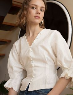 Pixie Market La Chemise Covered Button Shirt This shirt is sooooo good, delicate buttons, puffy sleeves! Latest Fashion For Women, Trendy Fashion, Fashion Outfits, Womens Fashion, Fashion Tips, Fashion Ideas, Ladies Fashion, Fashion Online, Fashion Trends