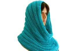 Hand Knit Blue Mint Infinity Scarf or Hooded Cowl by CraftingMemories1 on Etsy
