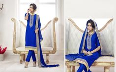 This fabulous straight cut suit has copper colored zari floral embroidery patch work on the neck line top gives a charming look. The copper colored zari on the sleeves and border weaved. The blue colored top is fabricated in chanderi cotton, while the bottom is made of cotton fabric. The najneen fabric dupatta. Buy this beautiful suit now.