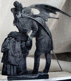 Cake Topper - Victorian Gothic Max Ernst Inspired Keepsake Topper , Halloween, Samhain. $75.00, via Etsy.