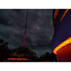 In honour of Prince, The iconic Arts Centre spire in Melbourne lit purple.#RIPPrince