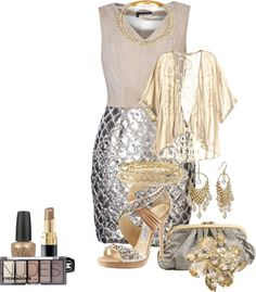 """""""Beige and Silver Sequin Contest"""" by rhondahenninger1 ❤ liked on Polyvore"""