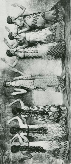 """Painted frieze-like effect of a line of female dancers in nymph costumes in Nijinsky's ballet """"Afternoon of a faun"""", 1912, photographed by Baron Adolf de Meyer."""