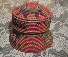 Vintage African Coiled Sewing Basket Great Colors by StarPower99, $22.00