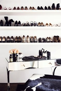 You don't need a walk-in closet to display you shoe collection in a creative way.