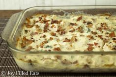 Chicken in a creamy cheesy sauce with pieces of jalapeno & loads of bacon. One of the best casseroles ever. Jalapeno Popper Chicken Casserole - Low Carb THM S
