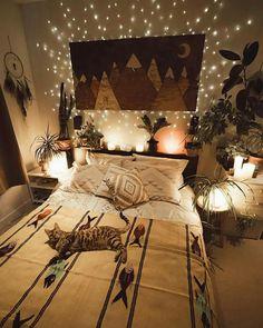 Home interior design — absolutely cozy bedroom in 2019 Home Design, Home Interior Design, Bed Design, Design Ideas, Bohemian Bedroom Decor, Gypsy Home Decor, Bohemian Room, Stylish Bedroom, Cozy Room